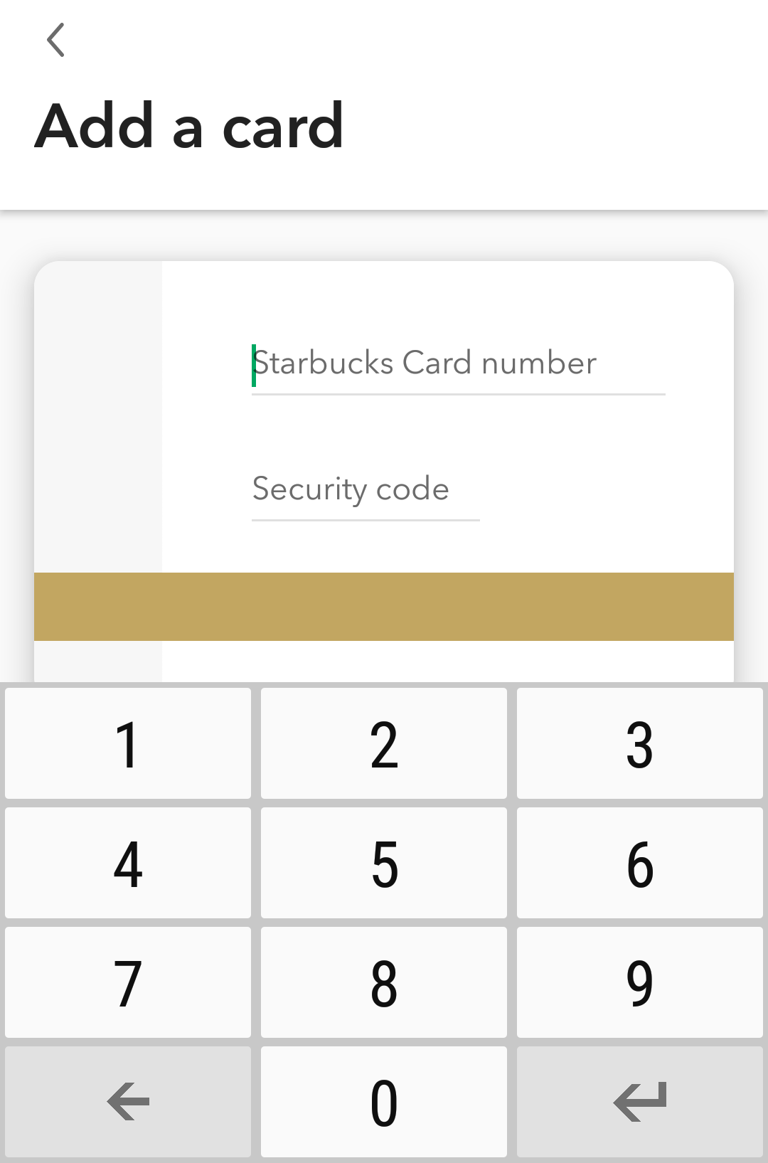 add starbucks card