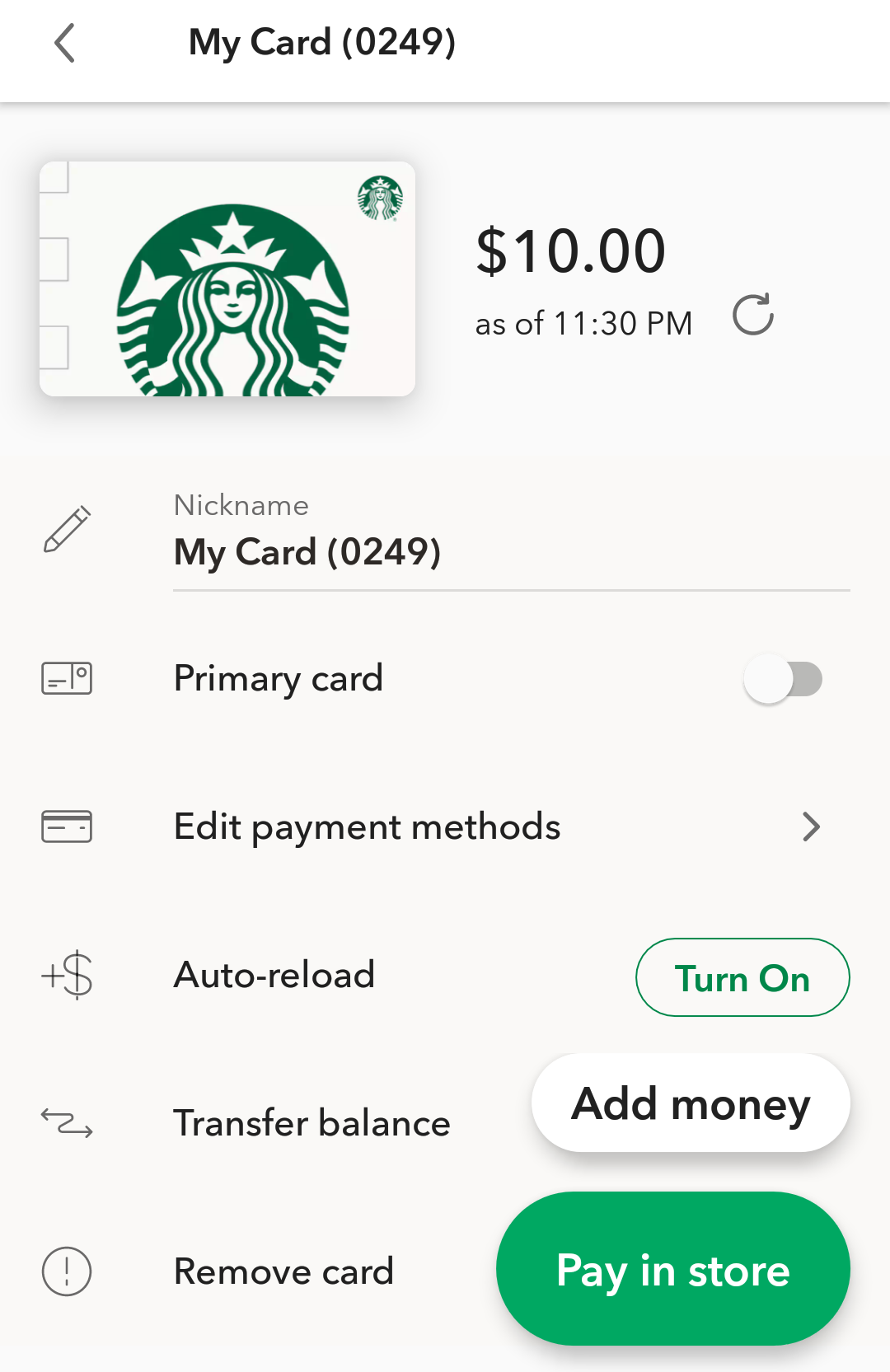 starbucks gift card shown in app