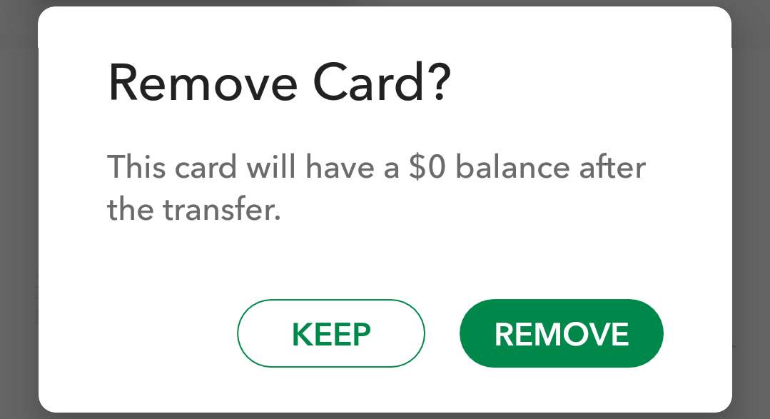 remove starbucks card?