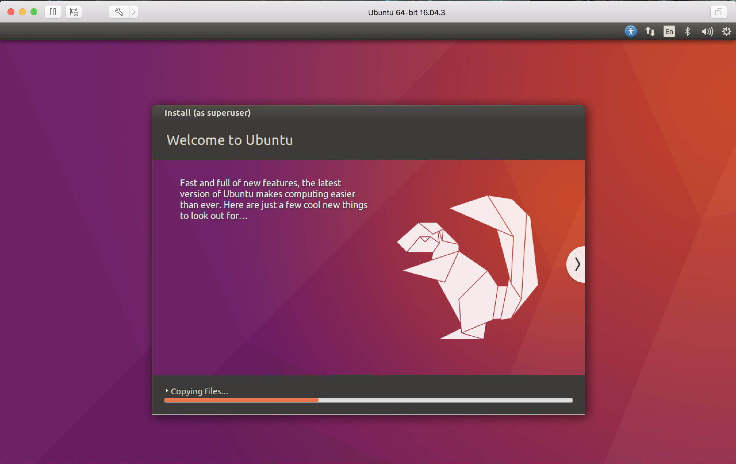 ubuntu linux being installed vmware fusion mac