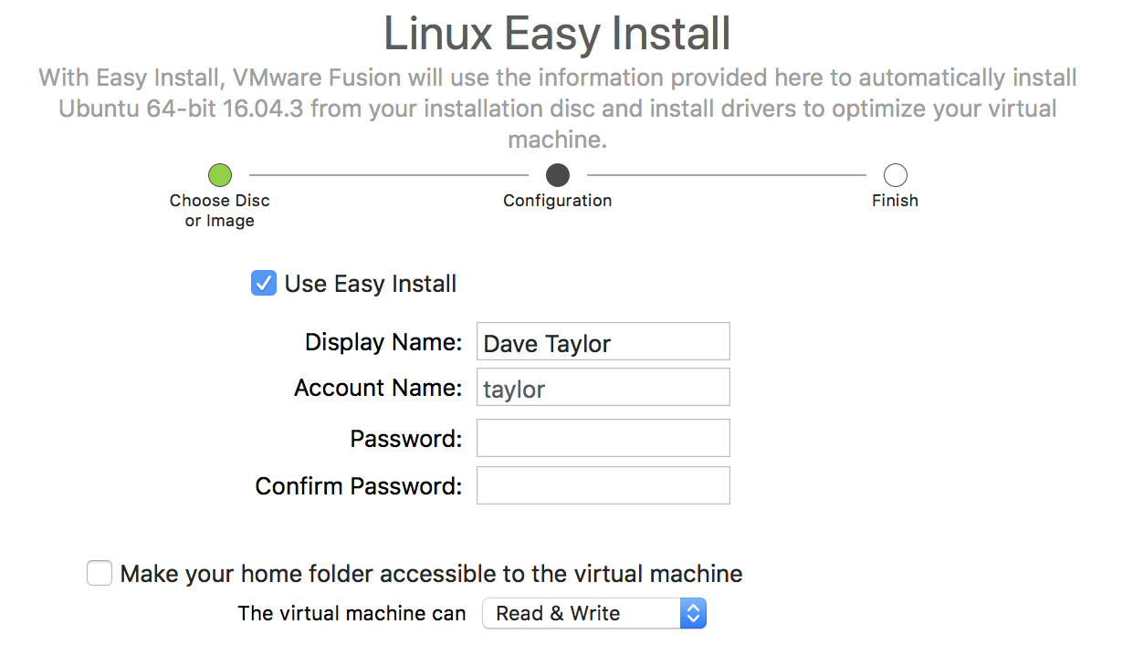 linux easy install vmware fusion