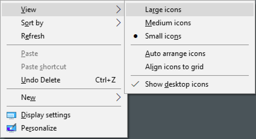 win10 desktop context menu