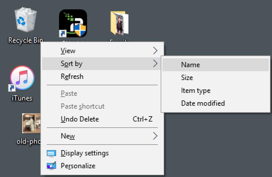 win10 windows desktop context menu - sort by