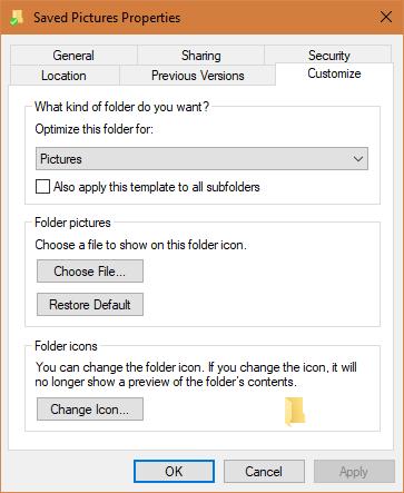 windows folder icon properties window