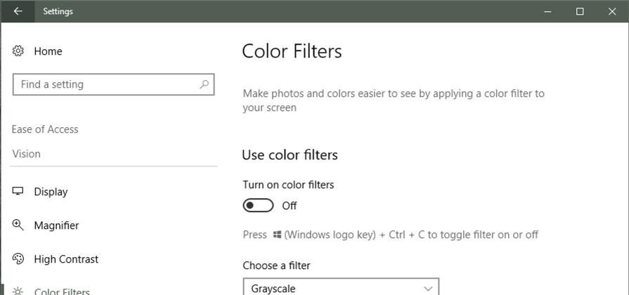 color filters settings blindness win10