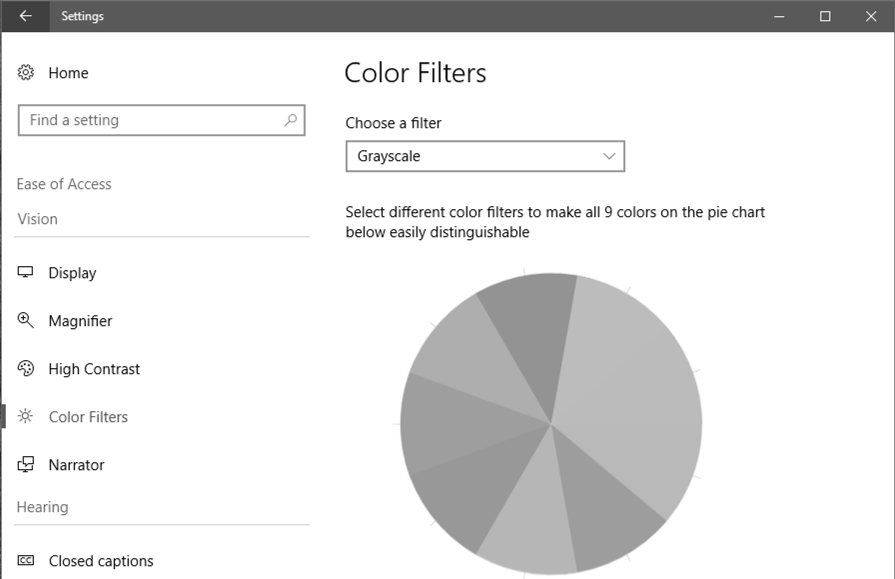win10 color filters - grayscale