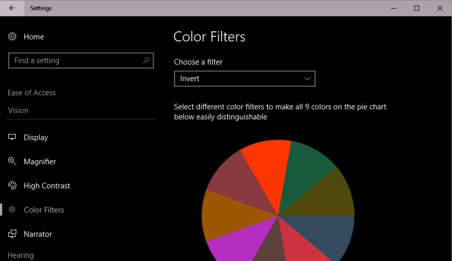 win10 invert colors blindness