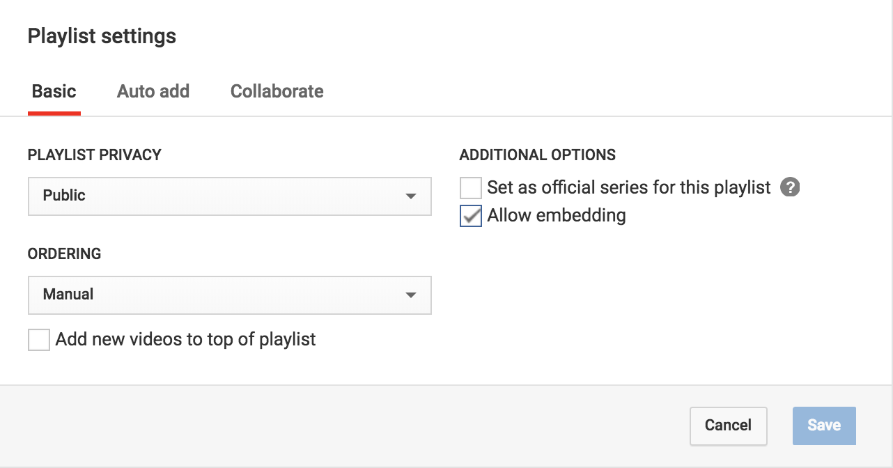 change playlist settings, youtube