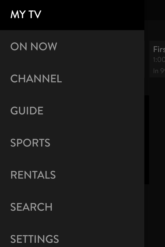 sling tv main menu