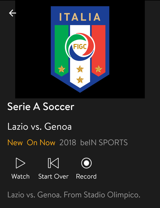 italian league soccer, android streaming