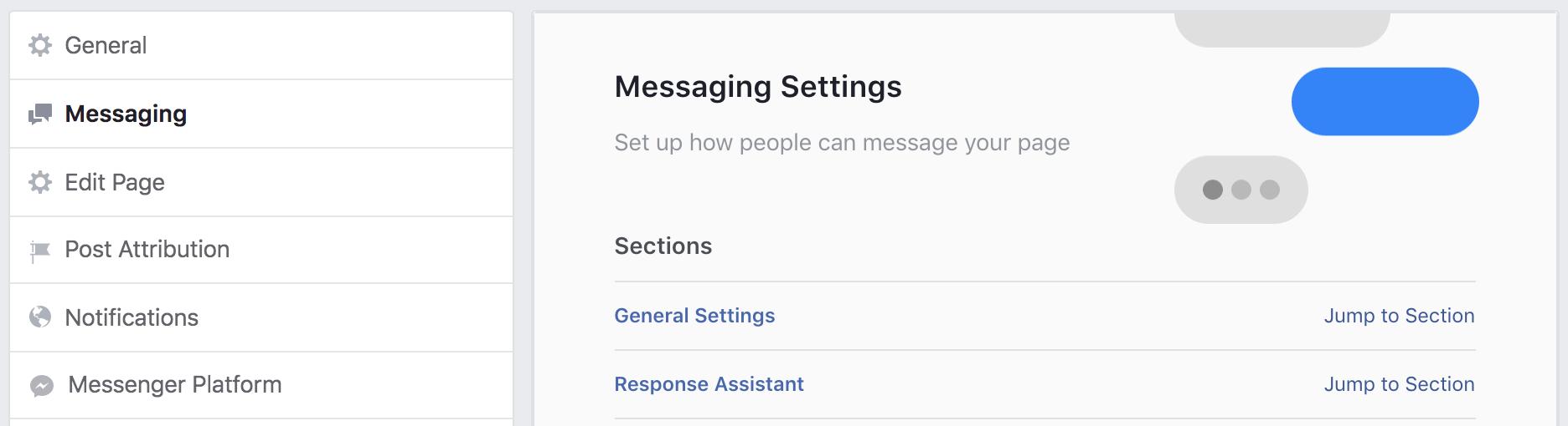 fb page settings > messaging settings
