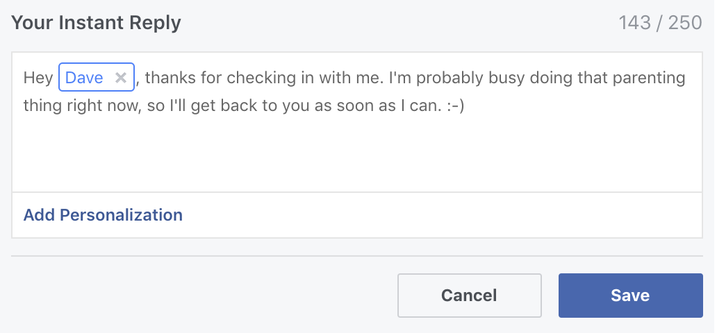 facebook instant reply message personalized