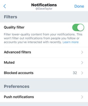 twitter notification settings, main menu