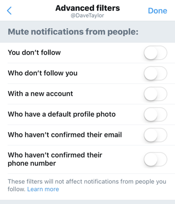 advanced settings twitter mobile notifications filter mute