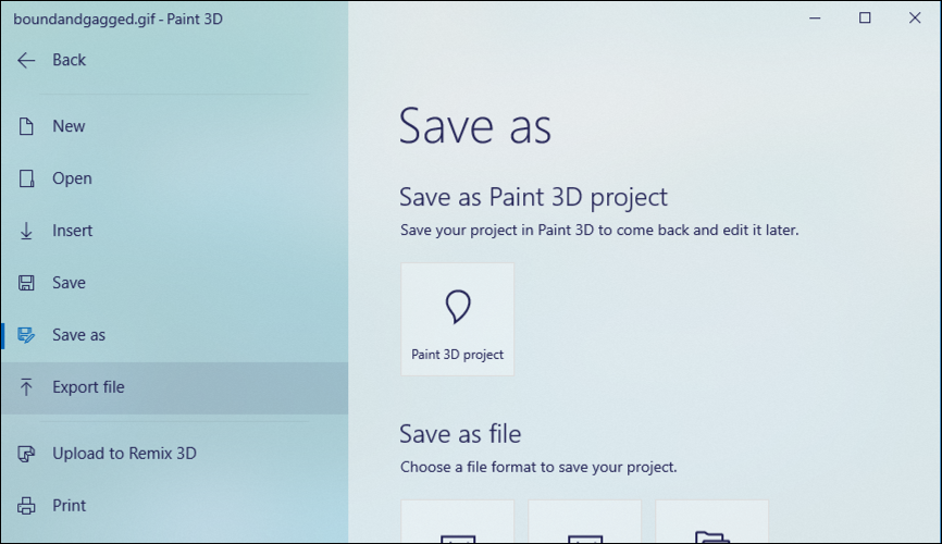 paint 3d file save as