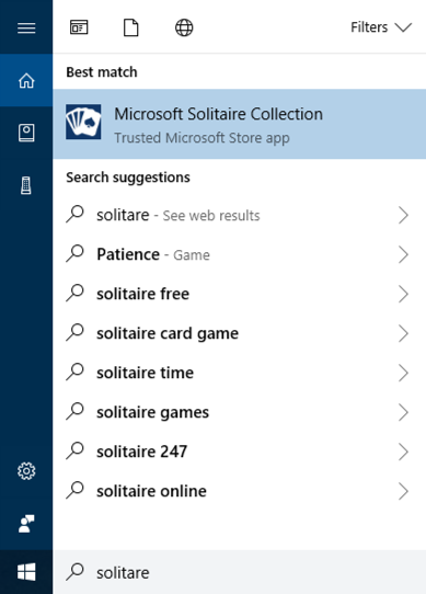 win10 cortana search solitaire