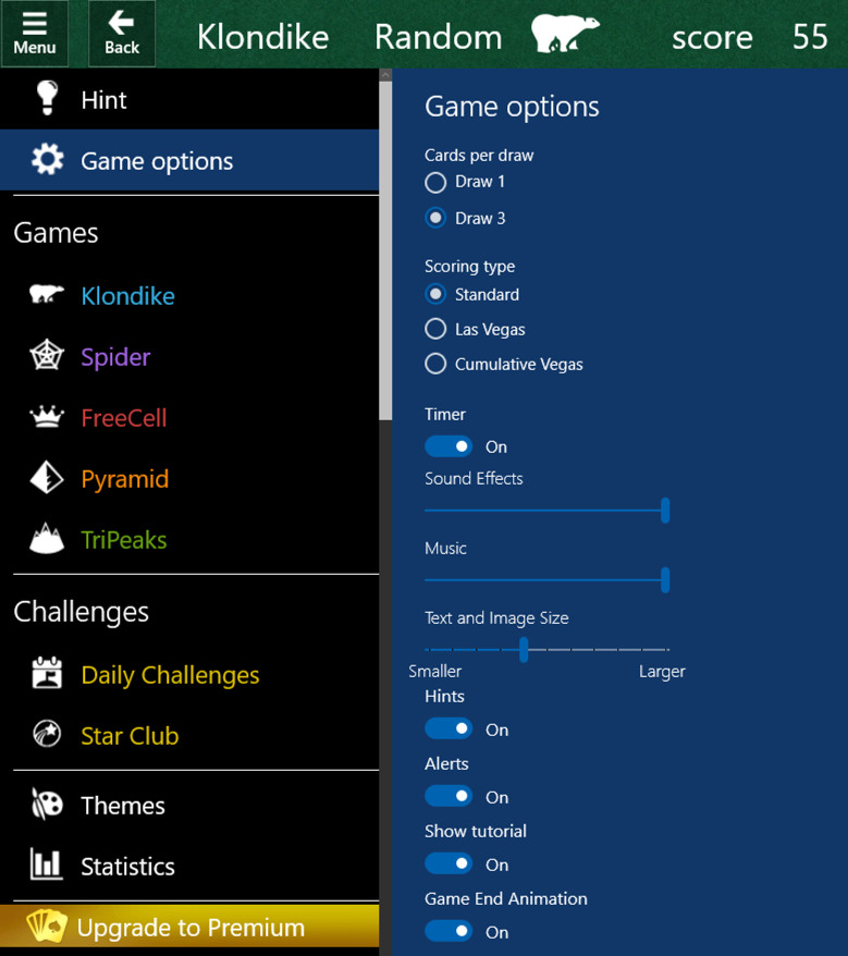 microsoft solitaire collection menu