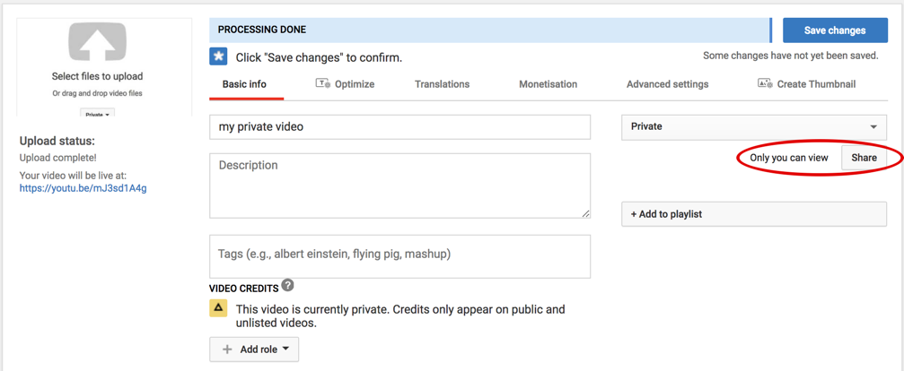 youtube video settings private