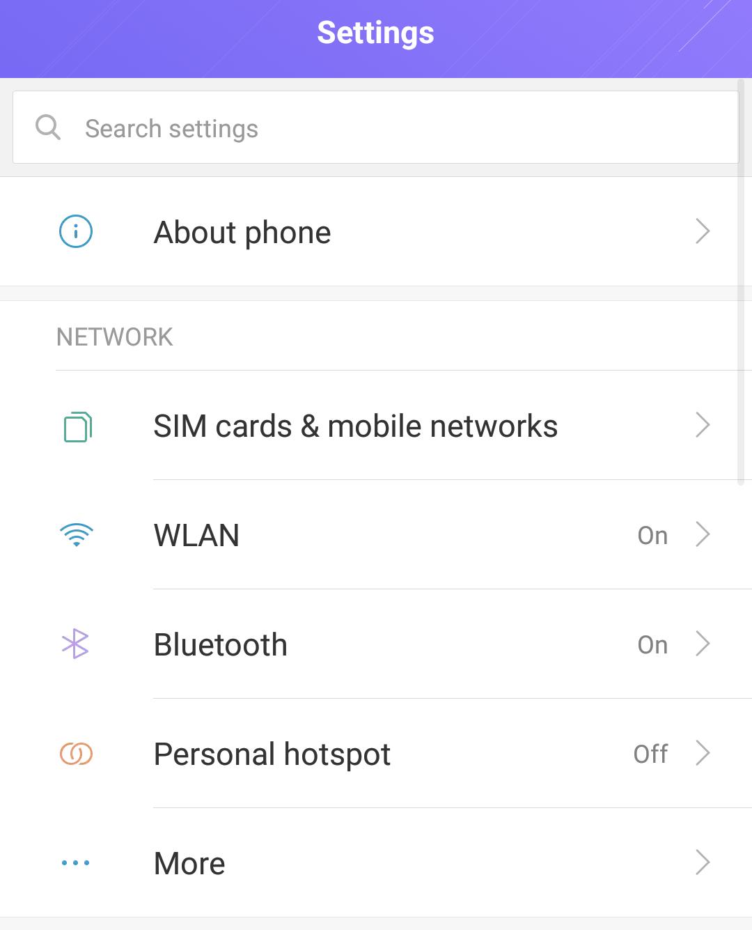 android settings, main screen