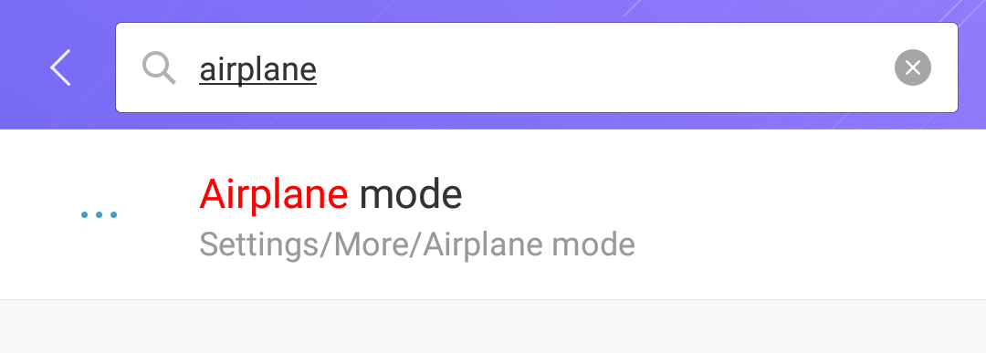 android settings search 'airplane'