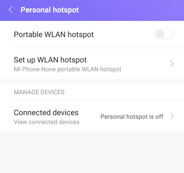 android personal hotspot settings configuration