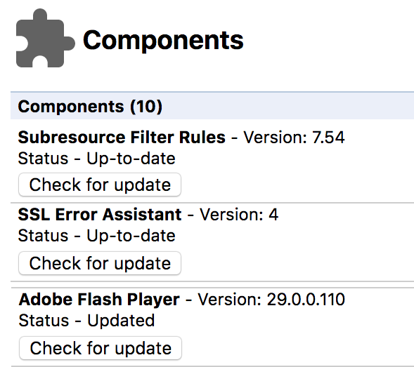 chrome adobe flash update component not updated
