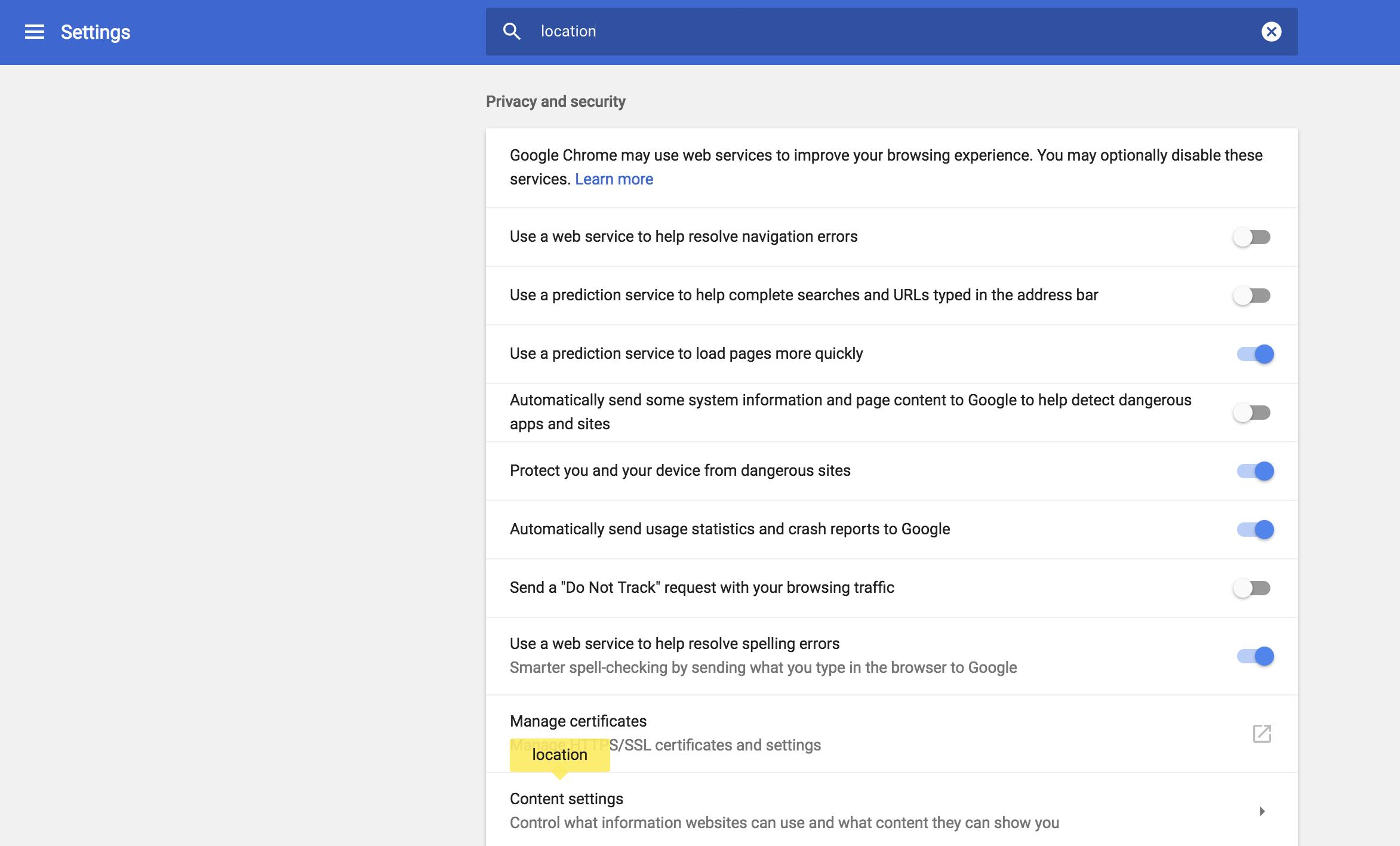 google chrome > settings > location search
