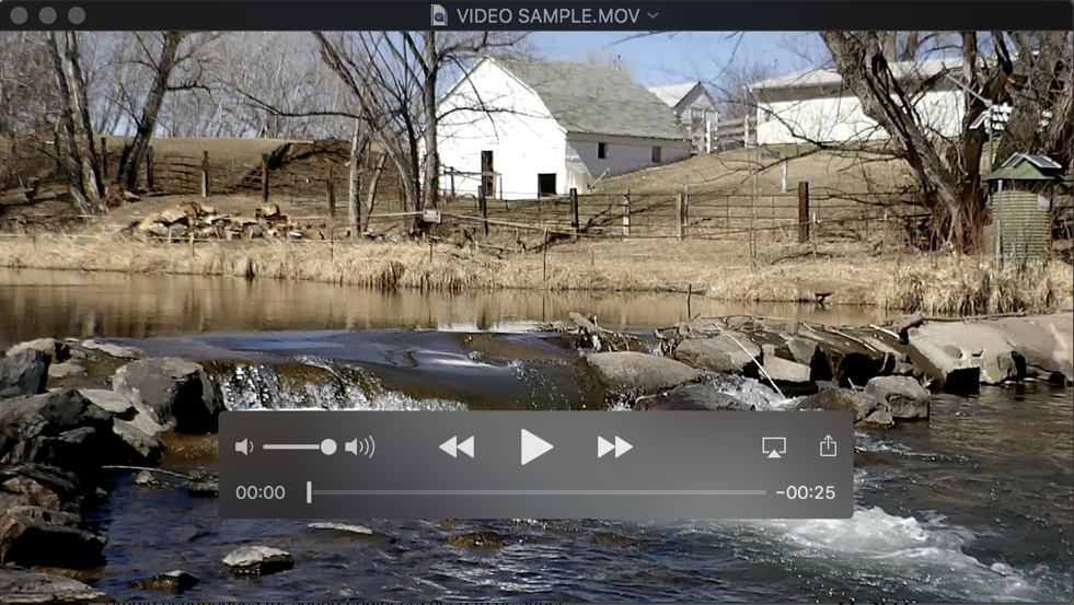 video in quicktime player, macos x