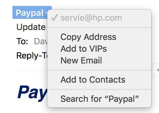 sender email address, paypal phishing