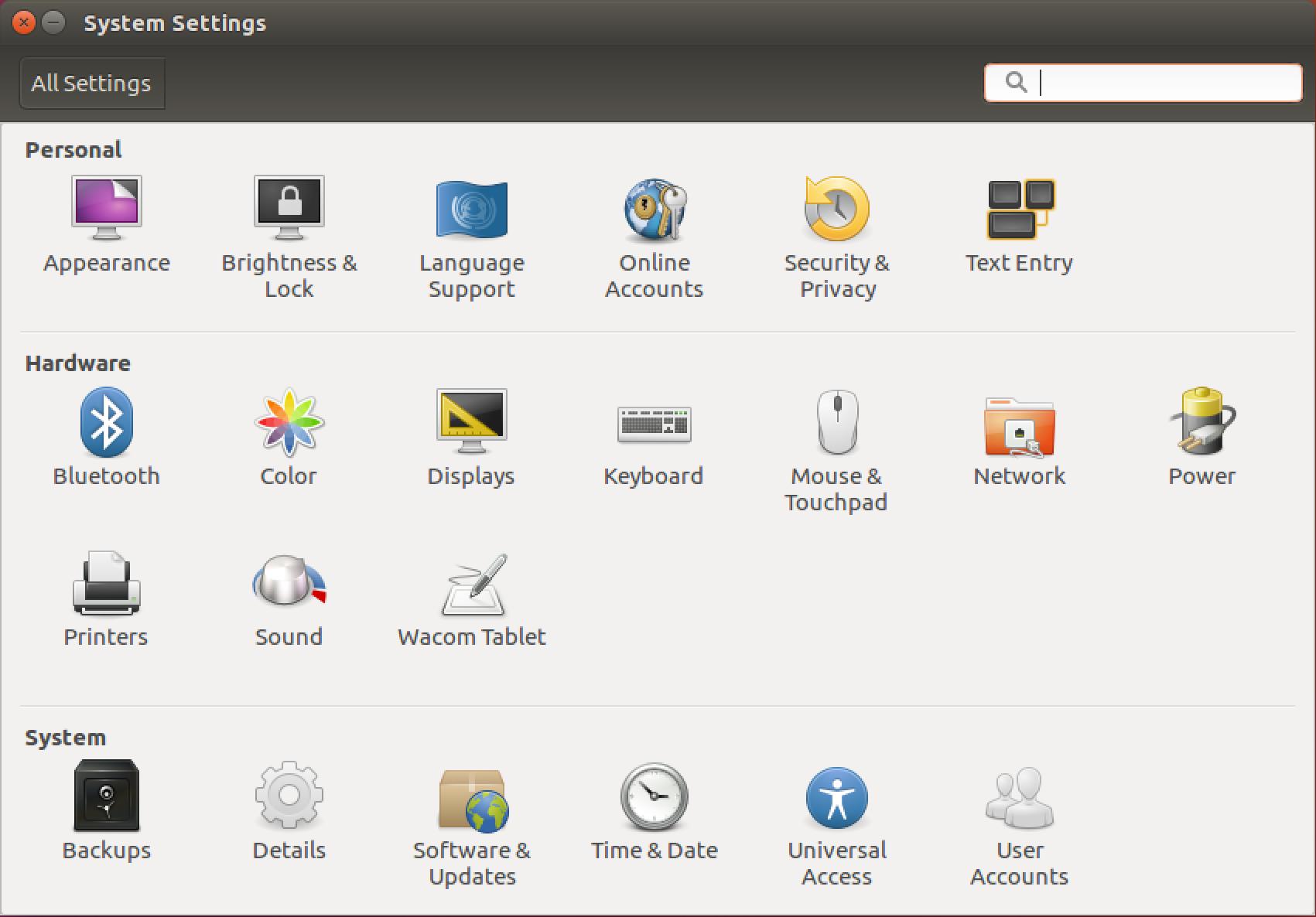 ubuntu linux system preferences settings
