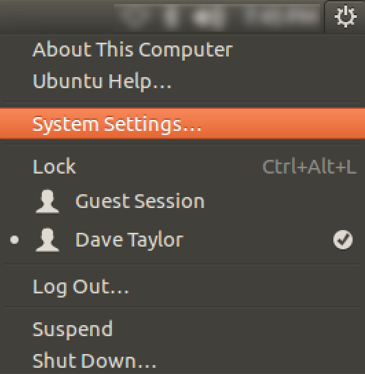ubuntu linux system settings, menu