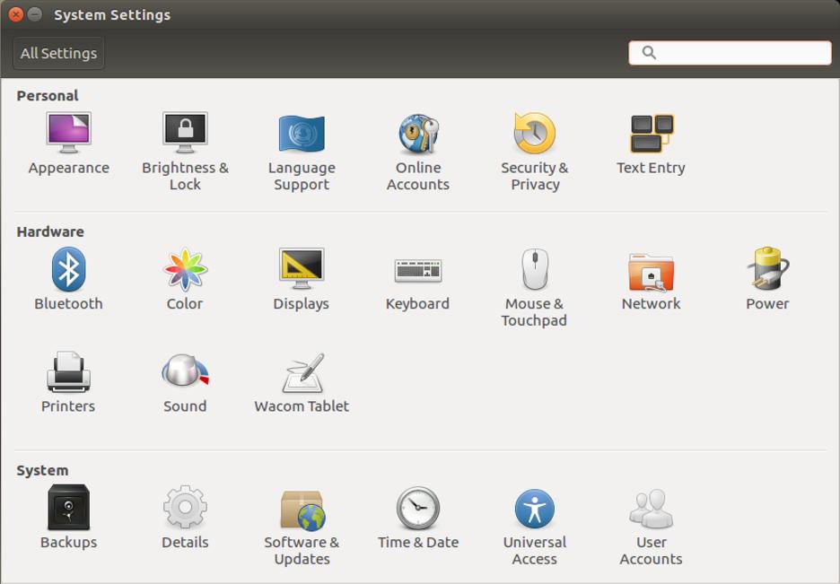 ubuntu gnome linux system settings configuration control panels