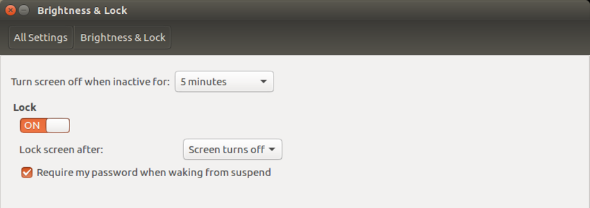 ubuntu linux brightness & lock options settings
