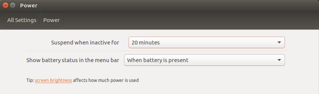 linux power settings configuration options
