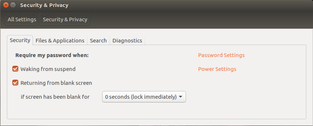 ubuntu linux system settings security & privacy