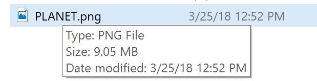 info about image file win10