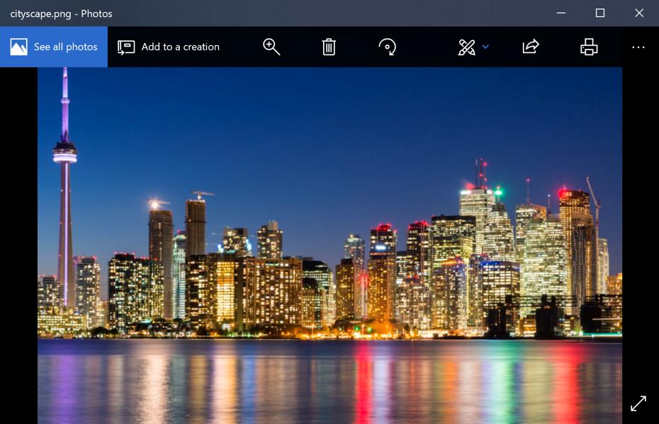 png photo image in microsoft windows photo app program