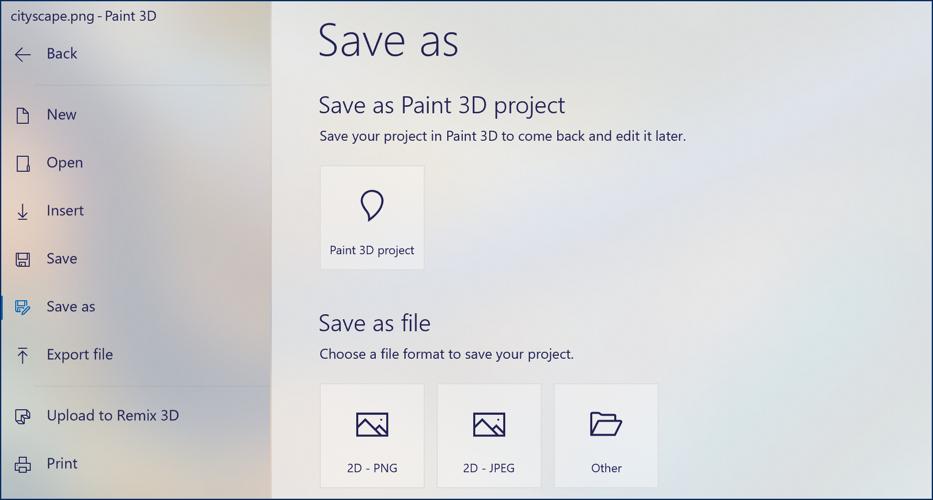 paint 3d save as png image format