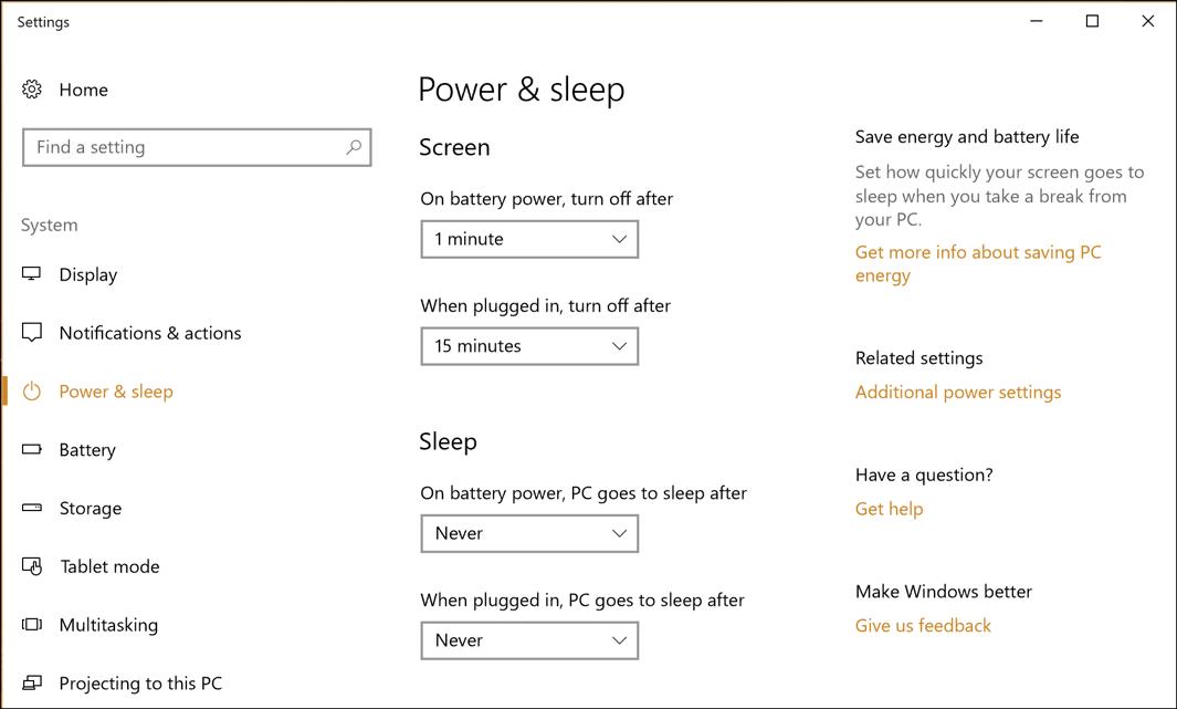 win10 power and sleep settings
