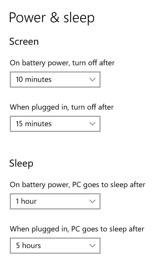 optimal win10 battery power sleep settings