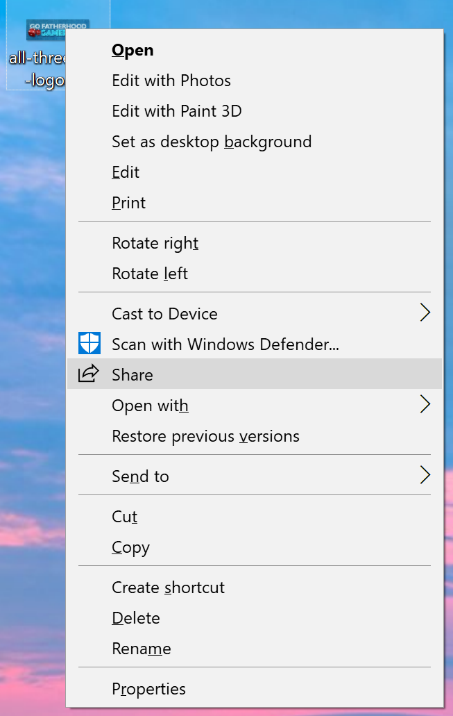 photo file context menu, win10