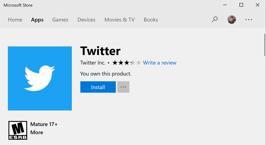 microsoft windows 10 win10 app program store - twitter app