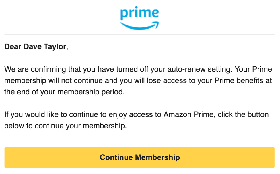 auto renewal turned off - amazon prime