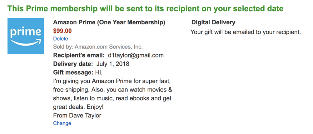 confirmation of purchase, amazon prime membership gift card subscription $99