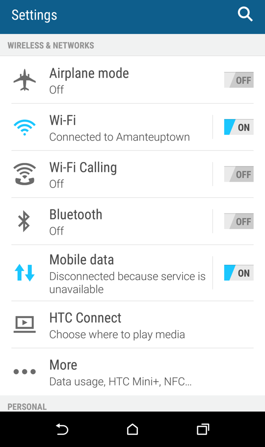 android settings, htc one