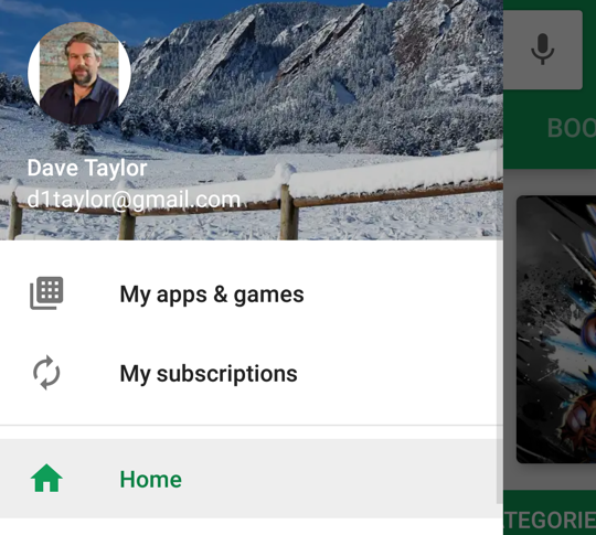 google play store - menu options - android