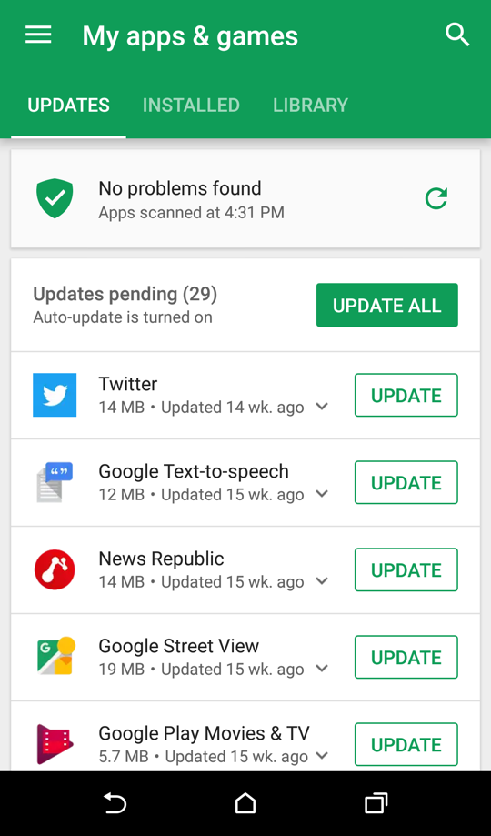 android google play store app updates