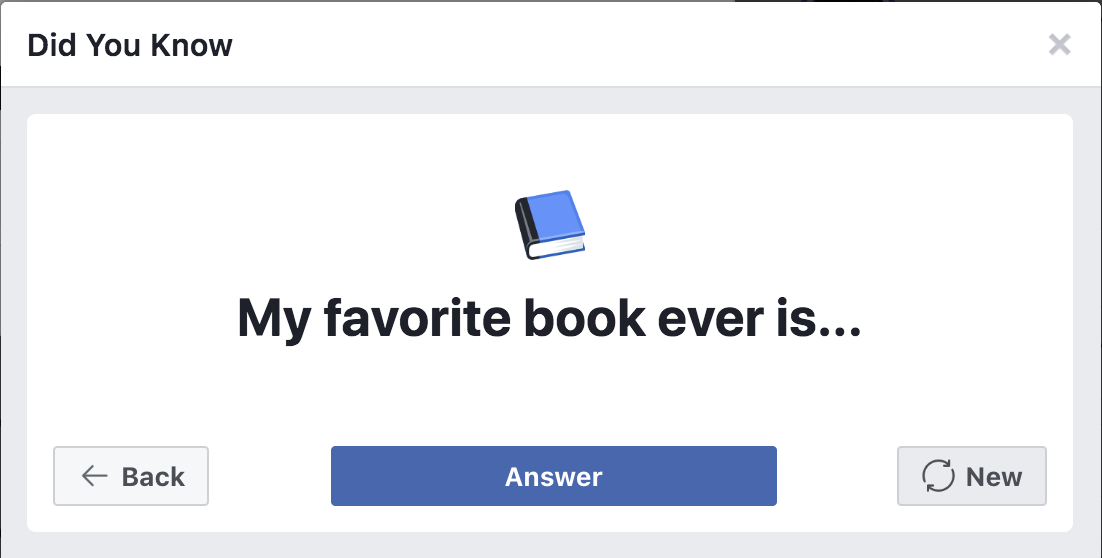 facebook answer a question : favorite book?