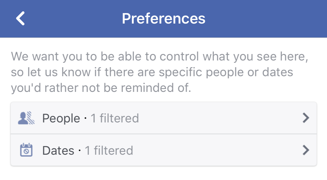 facebook on this date preferences settings