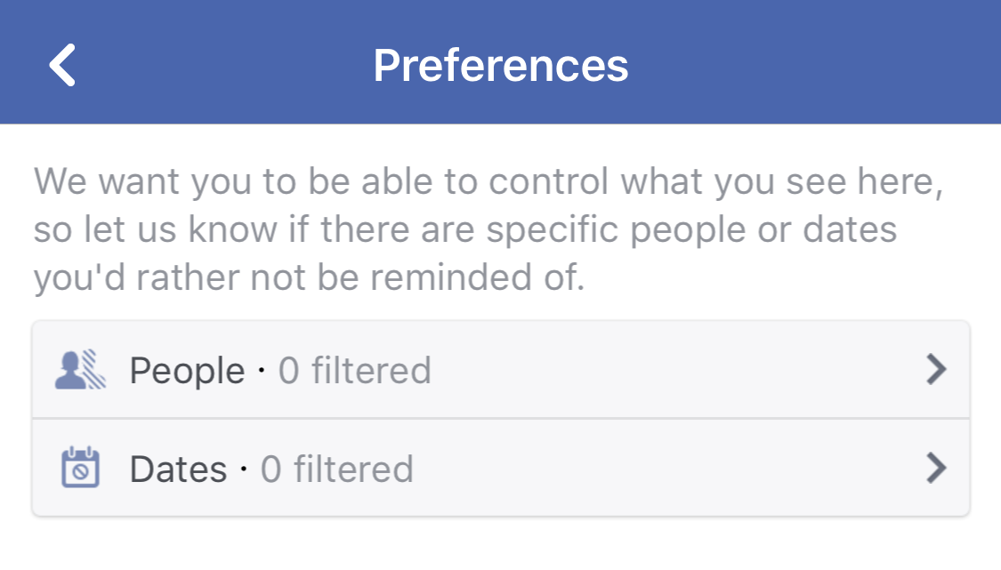 facebook fb on this day preferences